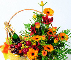 Local flowers - fruit and flower basket