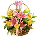 Tulips And Roses - Basket Flower Arrangement